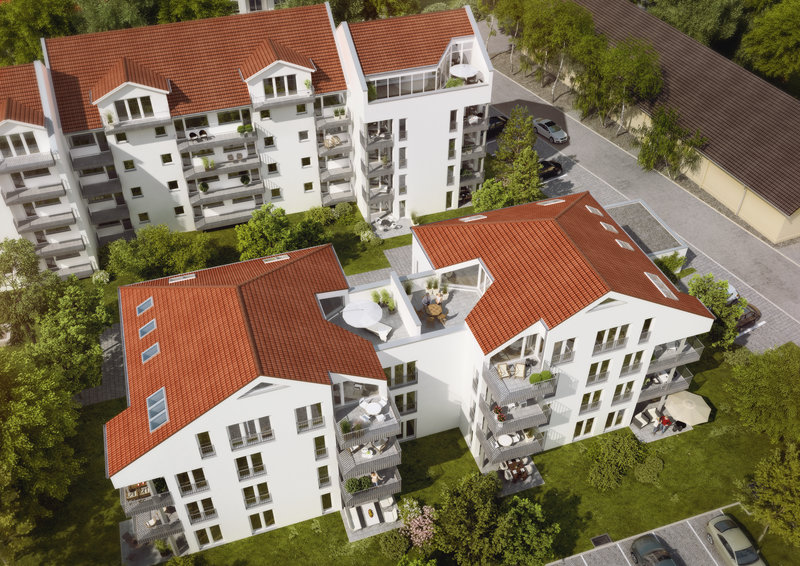 Aktuelles Immobilienprojekt in Poing Vogelperspektive